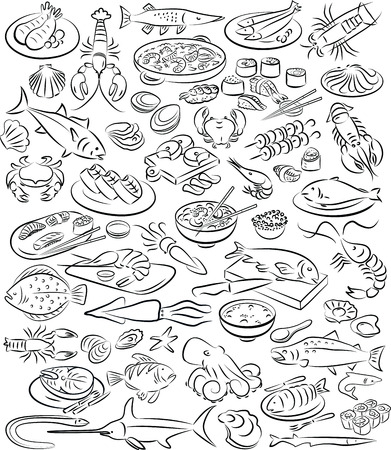 Vector illustration of sea food collection in black and white