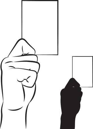 carte de visite vierge: illustration d�crit d'une main montrant une carte de visite vierge