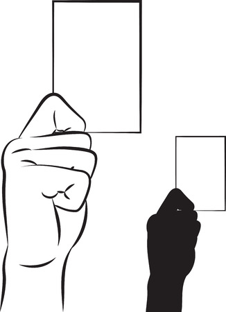 blank business card: outlined illustration of a hand showing a blank business card