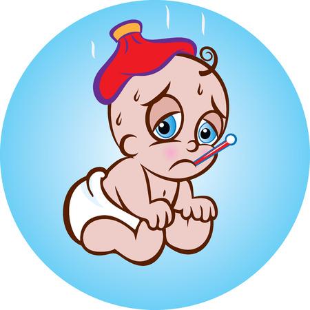 personas enfermas: ilustraci�n vectorial de un beb� que se sienta enfermo lindo en pa�ales con una bolsa de hielo y un term�metro