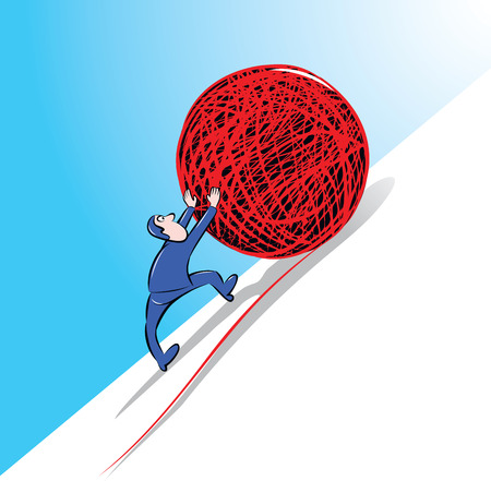 sisyphus: vector illustration of businessman pushing upward a giant red ball of yarn