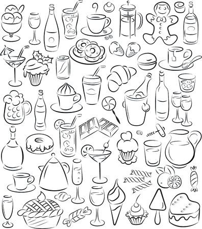 甘い食べ物: 黒と白の甘い食べ物や飲み物のコレクションのベクトル イラスト