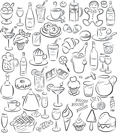 vector illustration of sweet food and drinks collection in black and white Vector