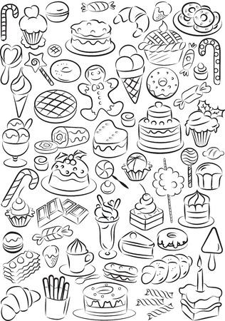甘い食べ物: 甘い食べ物コレクション黒と白のベクトル イラスト  イラスト・ベクター素材