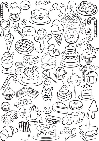 Vector illustration of sweet food collection in black and white Vector