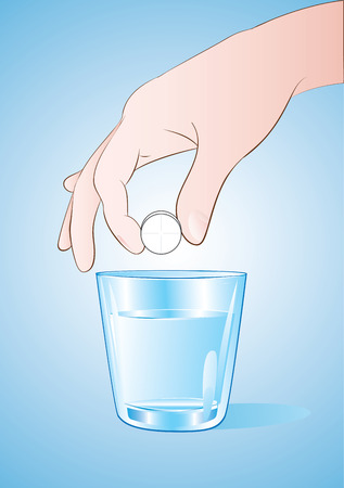 effervescent: vector illustration of a hand putting a pill into the a glass of water