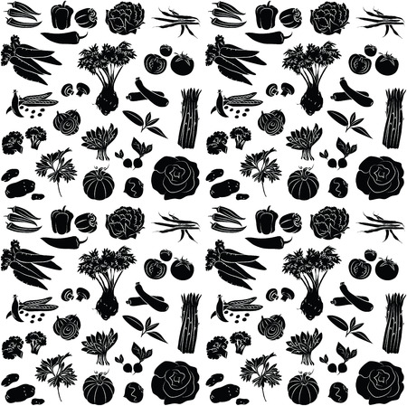 vector pattern of seamless background with vegetables Ilustração