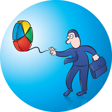 sucsess: Businessman playing with pie chart yoyo