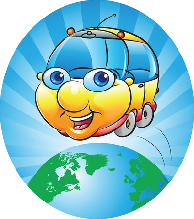 masses: vector illustration of a chubby car around the earth globe The source of the map used for reference: https:www.cia.govlibrarypublicationsthe-world-factbookmapsrefmap_time_zones.html The layers of data used: single layer, outline of land masses