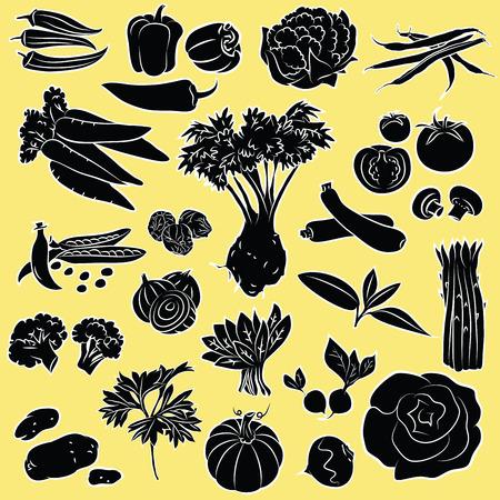 Vector Illustratie van groenten in zwart-wit Stock Illustratie