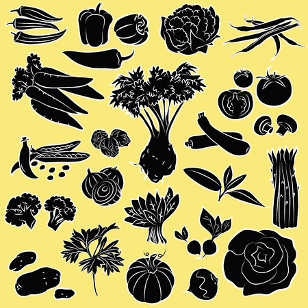 Vector Illustration of vegetables in black and white Illusztráció