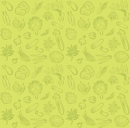 야채와 함께 완벽 한 배경 벡터 패턴