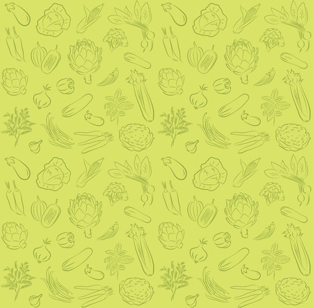 vector pattern of seamless background with vegetables Illustration