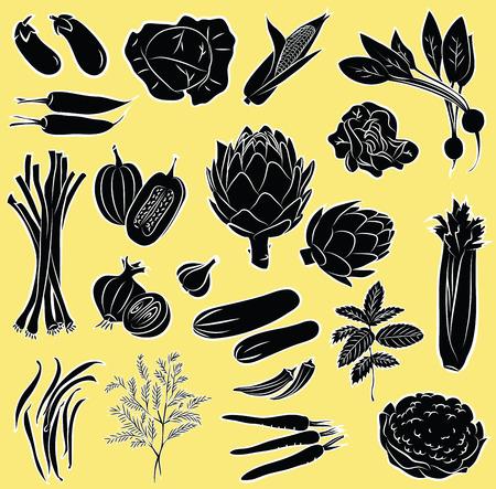 tamarindo: Ilustración vectorial de hortalizas en blanco y negro