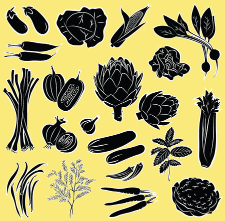 artichoke: Vector Illustration of vegetables in black and white Illustration