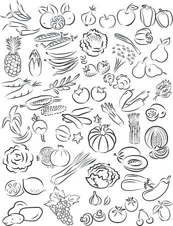 vector illustratie van groenten en fruit verzamelen in zwart-wit Stock Illustratie