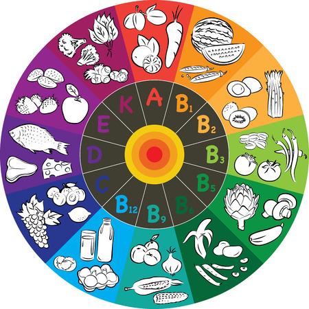 illustrazione vettoriale di gruppi vitaminici a ruota colorata