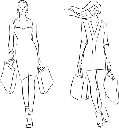 woman sketch: vector illustration of women with shopping bags