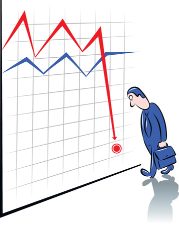 vector illustration of a businessman with handbag standing before the chart that showing where he is Stock Vector - 26610508