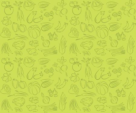 野菜とのシームレスな背景のベクトル パターン