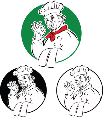 happy chef: vector illustration of cook chef holding dishtowel doing excellent sign