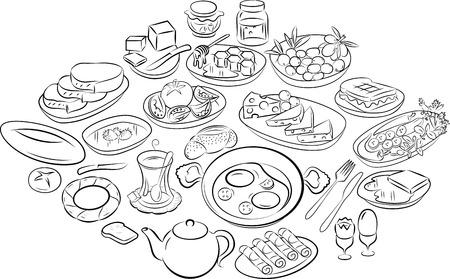 huevos fritos: ilustración vectorial de desayuno turco en el modo de gráficos de línea