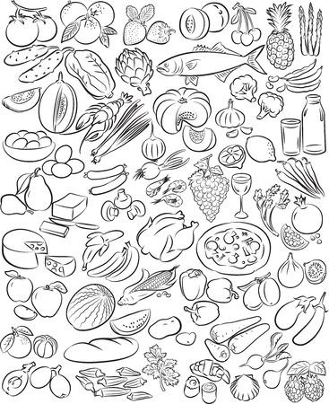 Vector illustratie van voedsel verzamelen in zwart-wit