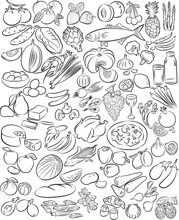 garlic bread: Vector illustration of food collection in black and white