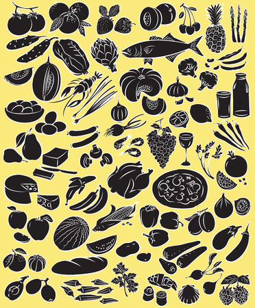 green vegetables: Vector illustration of food collection in black and white
