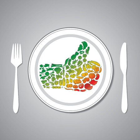 nectarine: vector illustration of food thumbs up on plate
