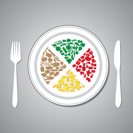 vector illustration of foods on plate Vector