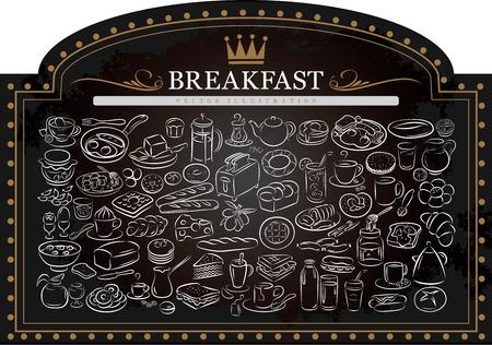 ilustración vectorial de productos para el desayuno en la pizarra