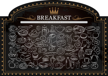 english breakfast tea: vector illustration of breakfast items on blackboard
