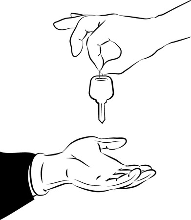 chauffeur: illustration of handing over the key in line art mode