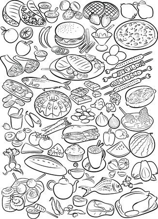 line art: Ilustraci�n del vector de recogida de alimentos en el modo de l�nea de arte