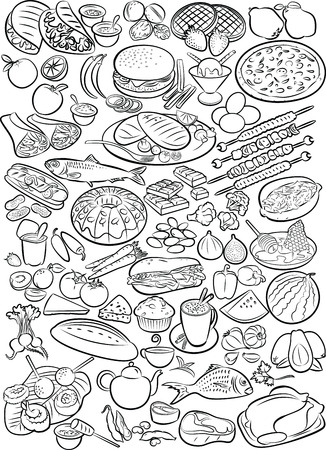 seafood background: Vector illustration of food collection in line art mode