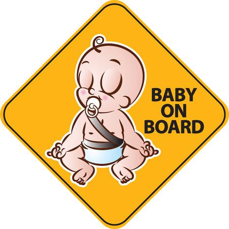 아기의 벡터 일러스트 레이 션 차량 안전을위한 보드 노란색 다이아몬드 경고 기호에 요가