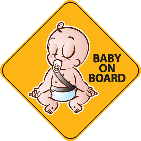 child safety: vector illustration of Baby doing yoga on board yellow diamond warning sign for vehicle safety