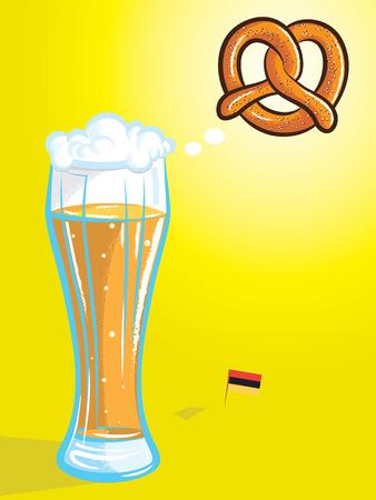 vector illustratie van bier denken van krakeling met Duitse vlag in kleur