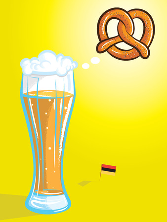 vector illustration of beer thinking of pretzel with german flag in color 向量圖像