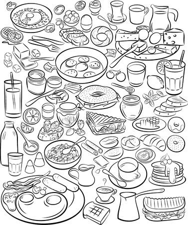 Ilustración vectorial de la colección del desayuno en el modo de línea de arte