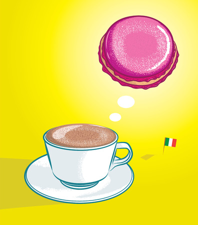 macaroon: vector illustration of cappuccino thinking of macaroon with italian flag in color