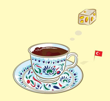 터키어 플래그와 함께 전통적인 터키어 기쁨의 터키어 커피 생각의 벡터 일러스트 레이 션