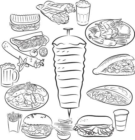 pita: Vector illustration of doner kebab collection in line art mode
