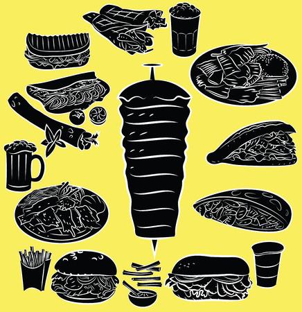 pinchos morunos: Ilustración vectorial de la colección doner kebab en el modo de silueta