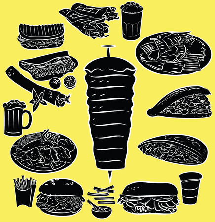 turkish dessert: Vector illustration of doner kebab collection in silhouette mode