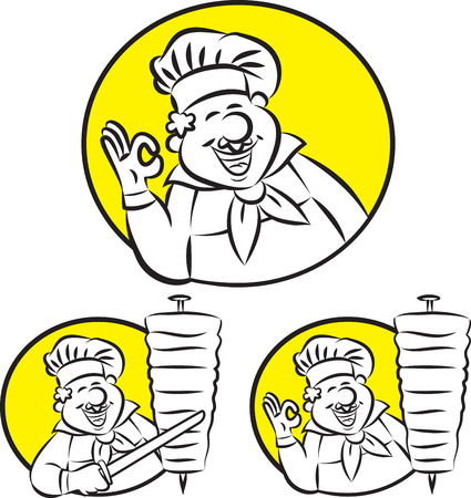 Vector illustration of cook gesturing ok sign Illusztráció