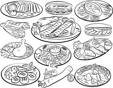 burrito: Vector illustration of kebab collection in line art mode
