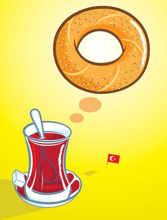 bagel: Vector illustratie van de Turkse bagel en een glas van traditionele Turkse thee