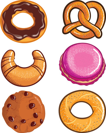 Vector Set of pastry isolated on white background Vector